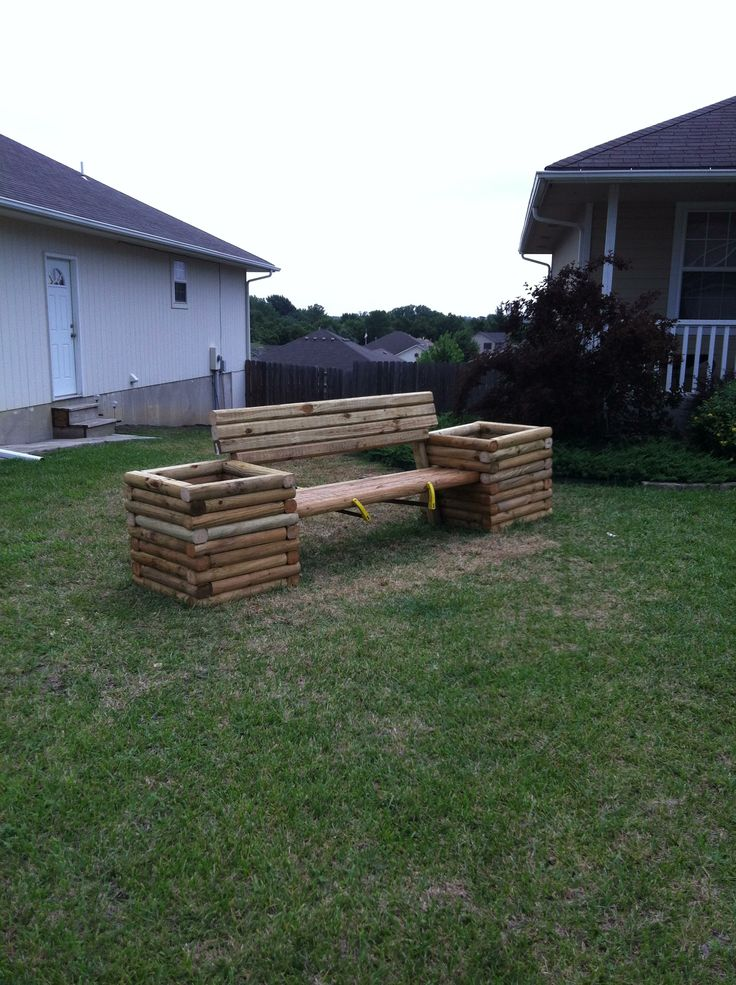 1000 images about landscape timber on pinterest for Landscape timber bench