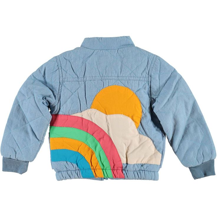 colourful unisex boys girls kids quilted rainbow sun Jacket front closed