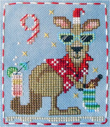 It's Kenny Kangaroo! #9 of the Brooke's Books Advent Animals Cross Stitch Freebies Collection by Brooke Nolan. You can download the free charts from http://www.brookesbooks.com/CrossStitchFreebies2.html