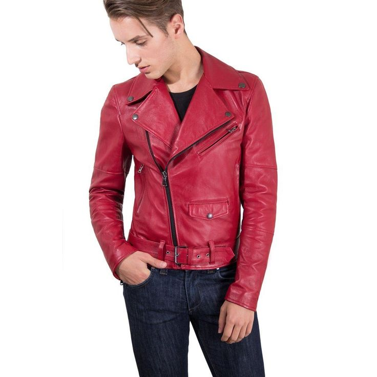 Men's Leather Biker Jacket belted red Perfecto | Made In Italy