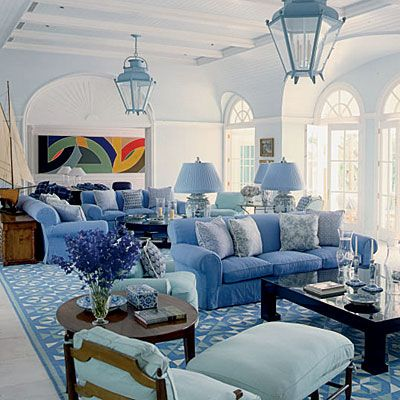 Blue Living Room DecorLiving Rooms, Blue Interiors, White Living, Living Spaces, Room Decor, Home Decor, Cozy Spaces, Blue Living Room, Dreams Living Room