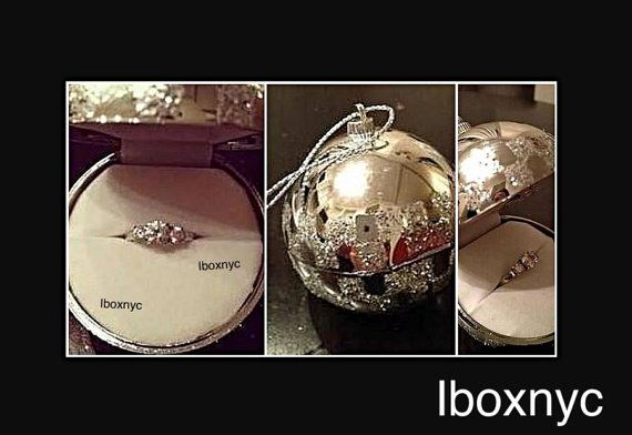 Fancy Silver checkered white Christmas Ball Ornament Hanging Engagement Ring / double ring Gift Box wedding band holiday proposal earrings