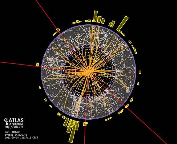 Particle tracks from a proton-proton collision (also called an event) in the ATLAS experiment at CERN's Large Hadron Collider (LHC). Events like this are a possible sign of the Higgs particle, though many events must be analyzed together to say with confidence the signal came from the elusive particle.