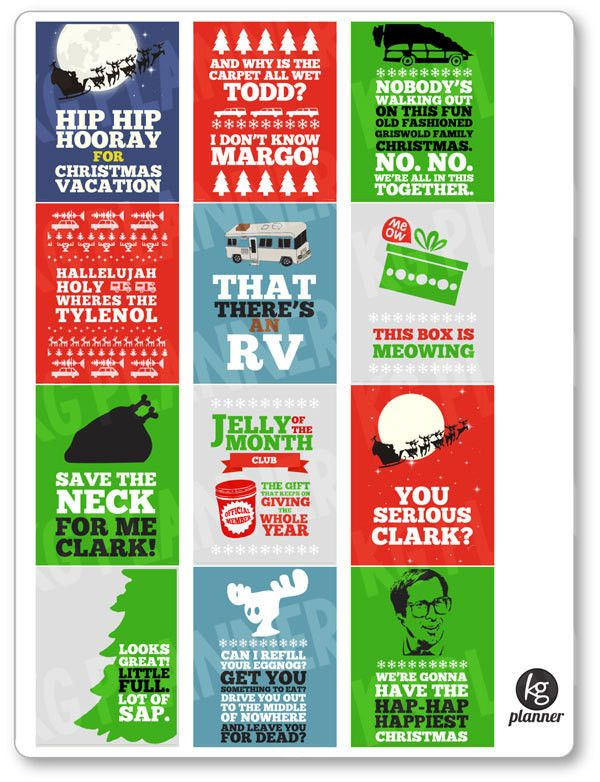 Christmas Vacation Quote Full Box Planner Stickers - Planner Penny