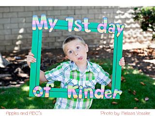 """Apples and ABC's: First Day of Kindergarten Photo Really cute way to do a """"first day of"""" photo each year. *mental note, buy a big frame for this project*"""