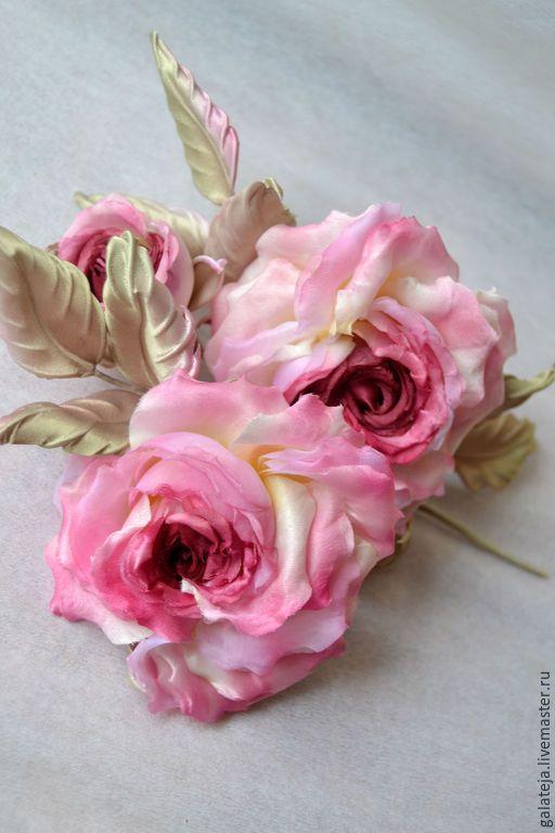 Купить Цветы из шелка Роза Жан Пьер - розовый, роза, роза ручной работы