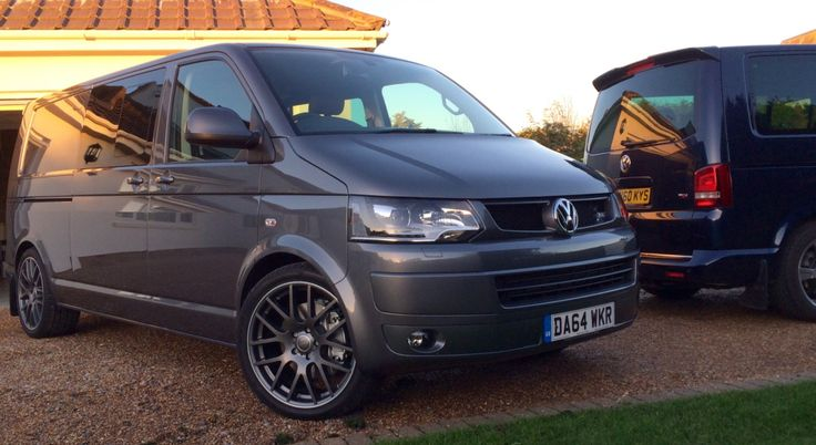 """This awesome VW Transporter T5 Kombi in Natural grey with matt grey 20"""" SuperMetal Trident wheels"""
