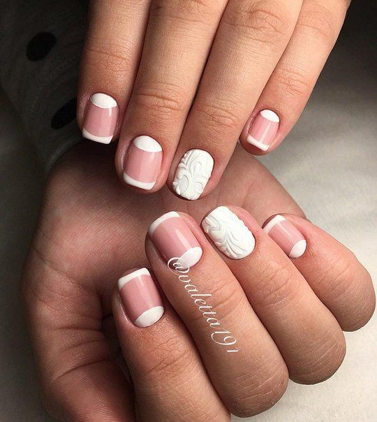 Beautiful nails 2016, Classic french manicure, Evening nails, Half moon patterned nails, Half-moon nails ideas, Nail designs for short nails, Original nails, Pale nails 2016