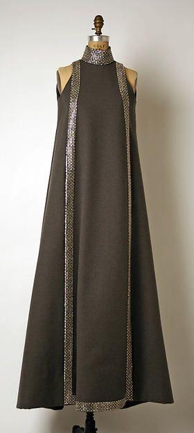 Evening ensemble (a) Geoffrey Beene  (American, Haynesville, Louisiana 1927–2004 New York) Designer: (b, c) Mr. David Evins (American, born England, 1909–1992) Date: 1967 Culture: American Medium: (a) wool; (b, c) wool, leather; (d) metal, glass Dimensions: Length at CB (a): 57 in. (144.8 cm) Credit Line: Gift of Geoffrey Beene, 1968