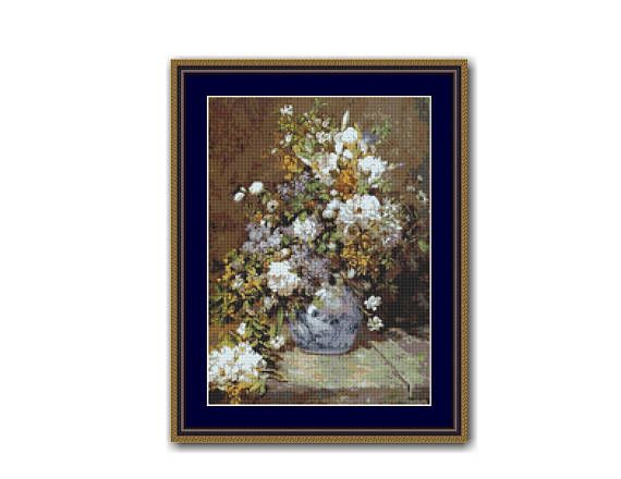 Renoir's Spring Bouquet Floral Counted Cross Stitch Pattern / Chart, Instant Digital Download  (ABA005)