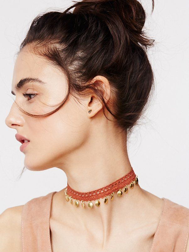 Dixie Lace Coin Choker | Crochet lace choker dripping with metal discs. Adjustable lobster clasp closure.   Import  Length: 13.5