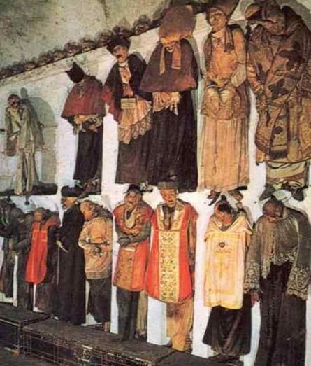 Capuchin Catacombs in Palermo, Italy are home to thousands of mummies on display.
