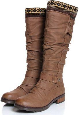 Willow Tan Navajo Lined Knee High Boot boohoo.com
