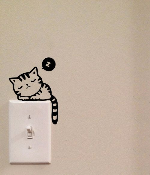 Dormir gato interruptor lindo vinilo Wall Decal por imprinteddecals
