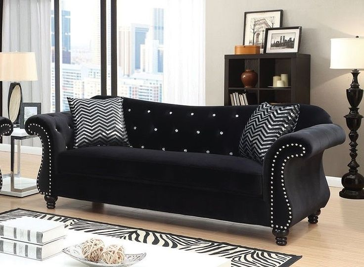 Jolanda Traditional Black Fabric Sofa Couch Tufted Living Room Furniture