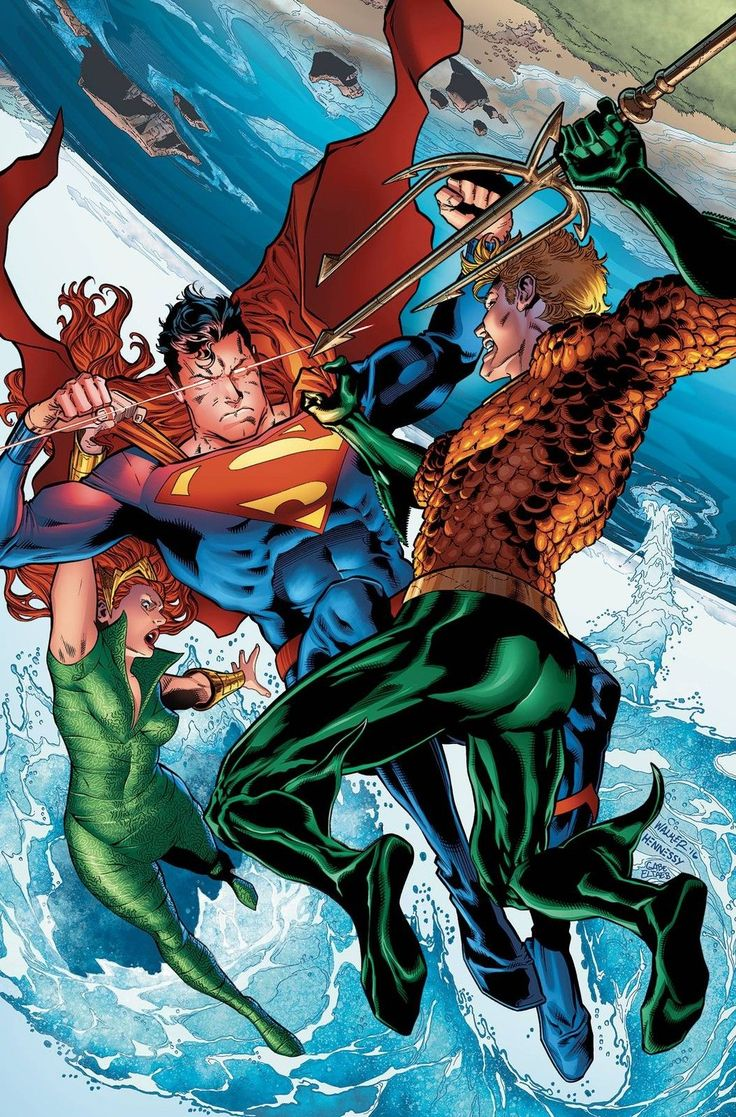 Aquaman and Mera vs Superman by Brad Walker