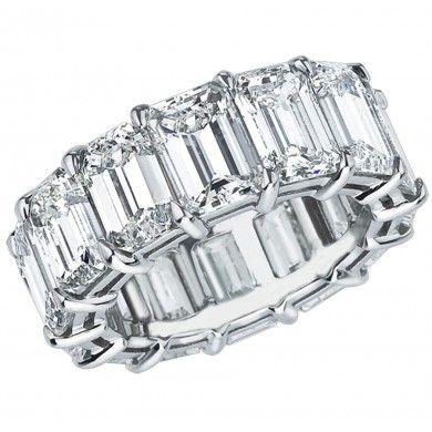 Platinum 5.50ct Emerald Cut Diamond Open Airline Eternity Band EM-OA-25-PLAT-IDJ