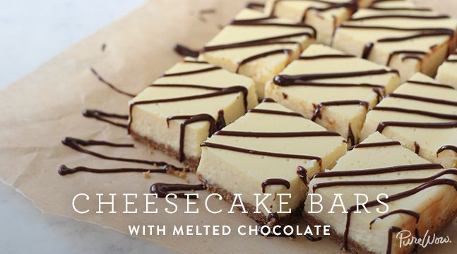 Cheesecake Bars with Melted Chocolate -I would not use sugar in the base and swap the sugar in the filling for stevia or honey to make it slightly healthier :)