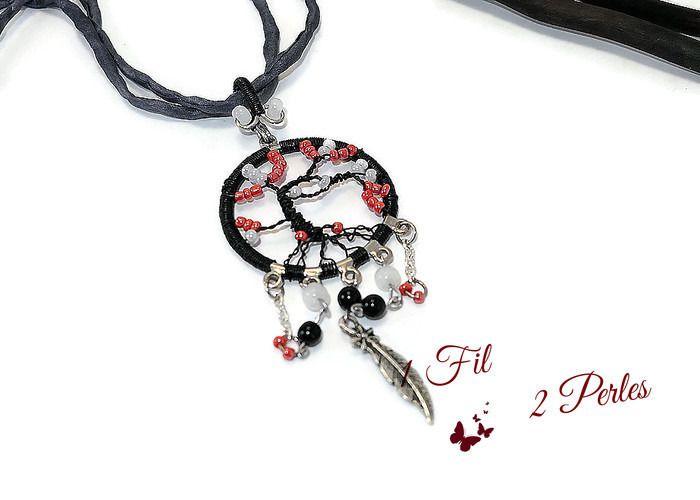 RESERVE - Collier Pendentif Arbre de Vie Noir et Rouge Wire Wrapping Perles Rocailles : Pendentif par 1-fil-2-perles
