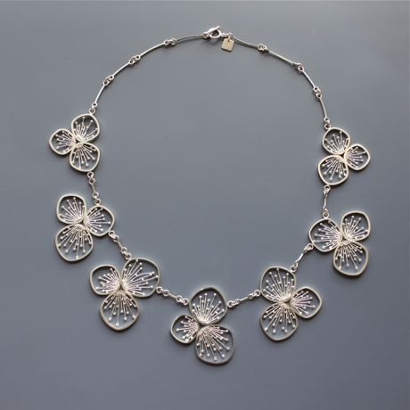 "Necklace | Dallae Kang.  ""Cherry Blossom"".  Fine silver, sterling silver"