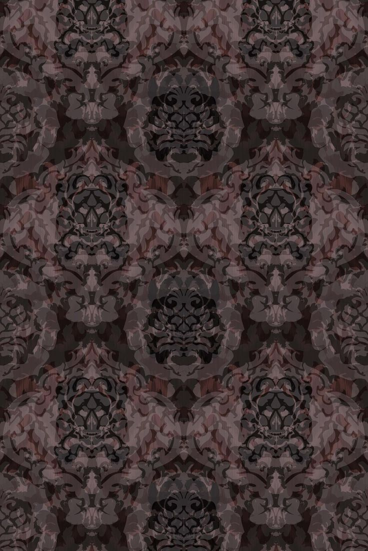 Skull Damask Superwide Wallpaper - Dark Beetroot