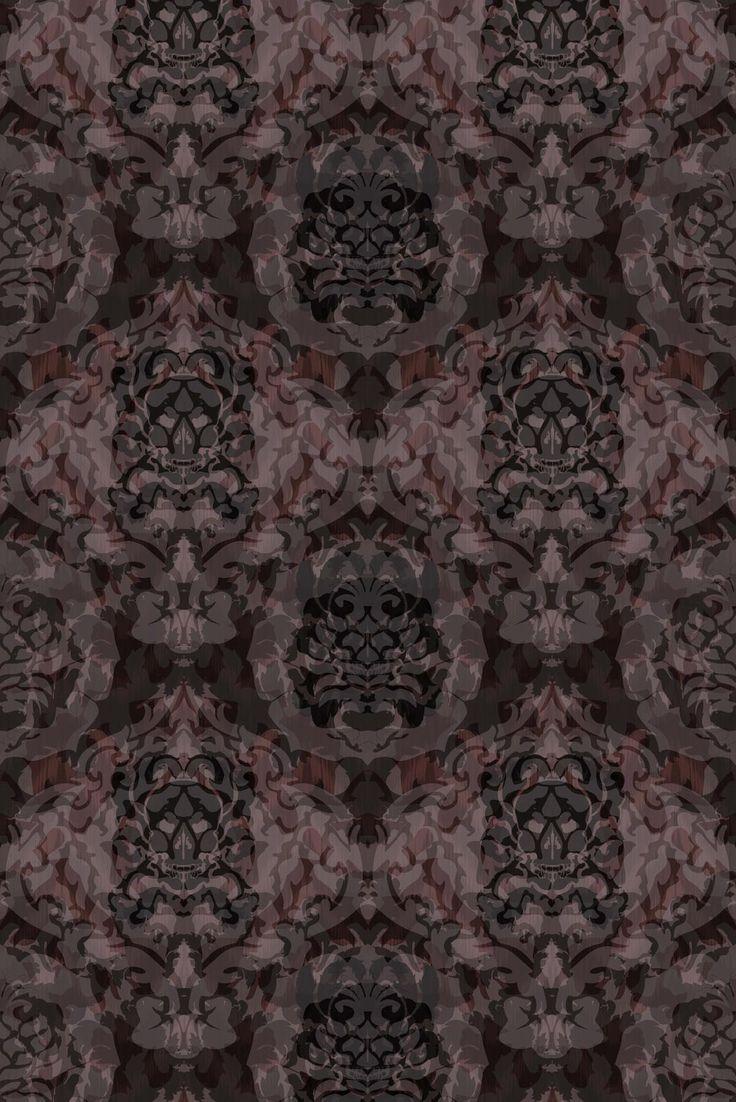 Skull Damask Superwide Wallpaper - Dark Beetroot