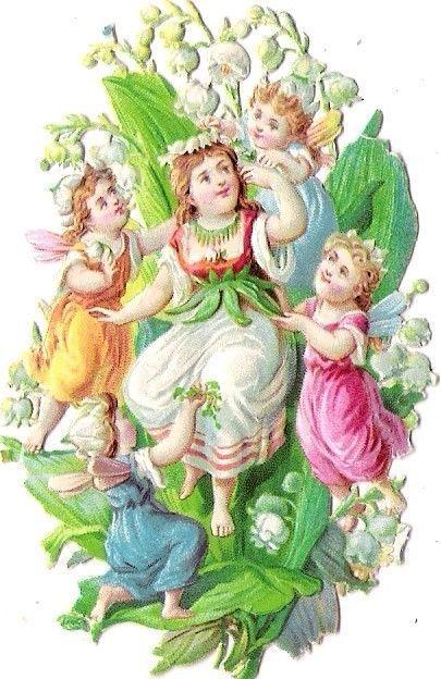 Oblaten Glanzbild scrap die cut chromo Elfe elf Engel angel fairy ange child: