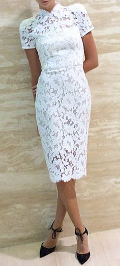 white Lace pencil dress @roressclothes closet ideas #women fashion outfit #clothing style apparel