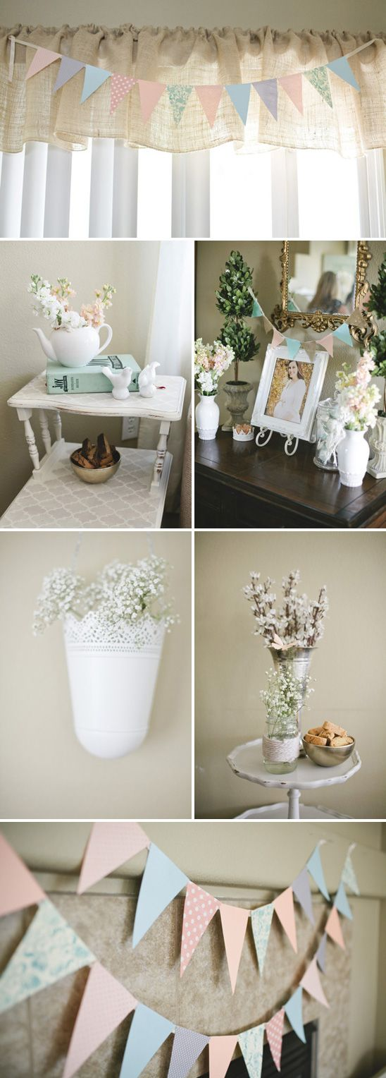 really like these little vignettes. I have a lot of china pieces and flower pots we could do this with.