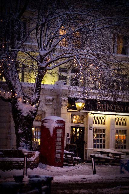 Snowy day, Princess of Wales Pub, London @Megan Ward Ward Ward Ward Miller >> What a Magical shot!