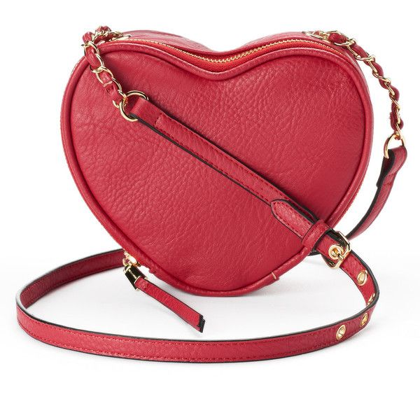 Juicy Couture Romie Heart Crossbody Bag ($35) ❤ liked on Polyvore featuring bags, handbags, shoulder bags, dark pink, zip shoulder bag, red crossbody purse, heart purse, red cross body handbags and red handbags