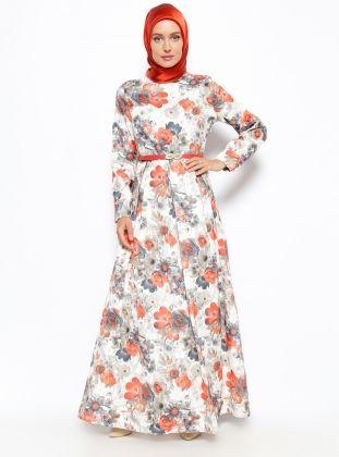 Floral Dress - Orange - BURUN