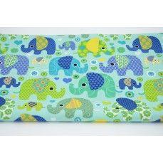 Bawełna 100% kolorowe słoniki na zielonym, miętowym tle