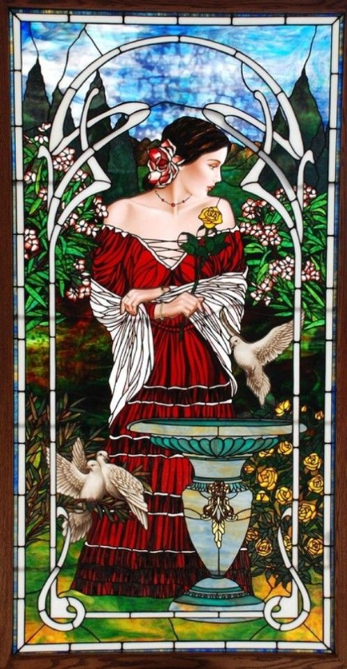 Bogenrief Studios stained glass work inspired by Nouveau artist Alphonse Mucha