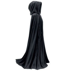 Three Quarter Length Velvet Cape Witches take notice! Falling in lush, sable folds of crushed black velvet, these spectacular capes make a dramatic entrance wherever you choose to wear them. Both are fully hooded and feature twin slit openings for your hands and wrists. $89.95