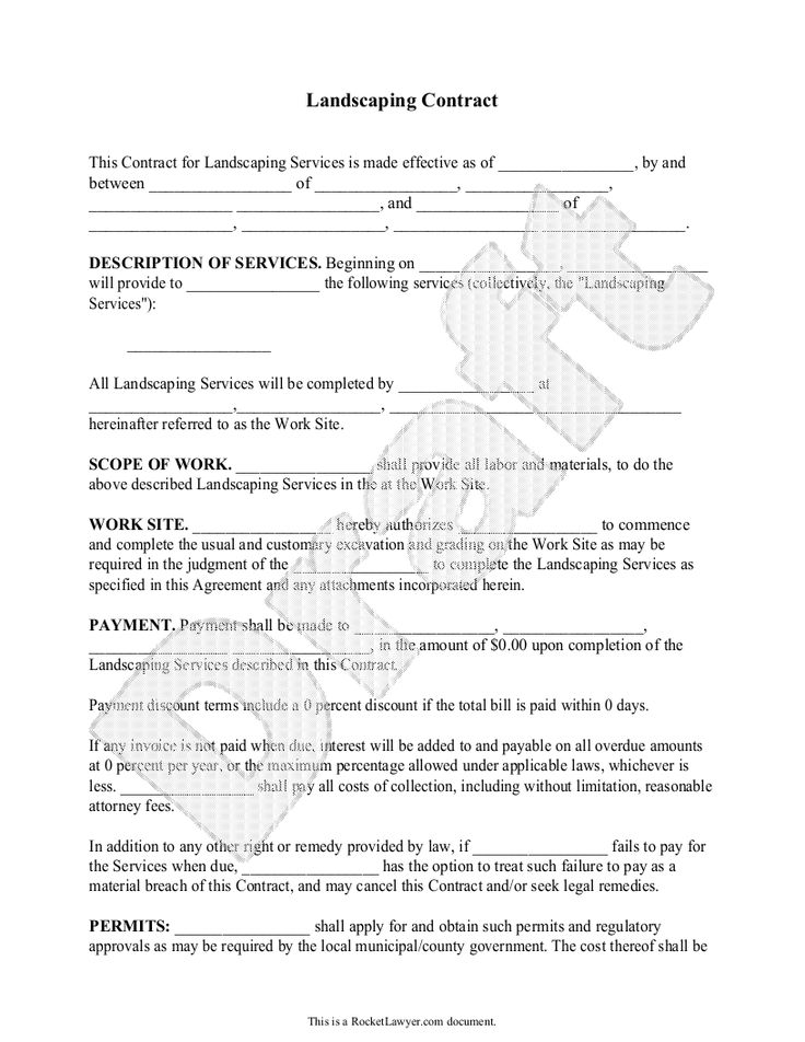 Service Contract Template Lawn Maintenance Agreement Part The