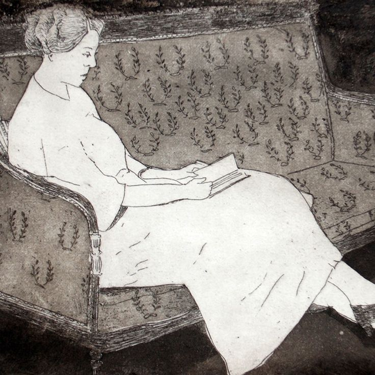 New listing, woman reading, a traditional aquatint etching.