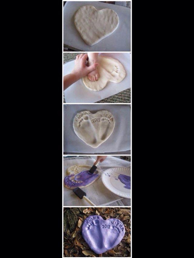 Salt Dough Footprint Heart #Family #Kids #Trusper #Tip