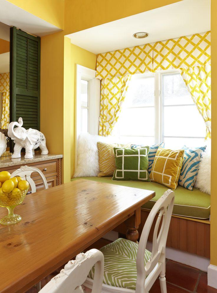 Sunny Yellow + Fresh green window seat. by Marmalade Interiors.