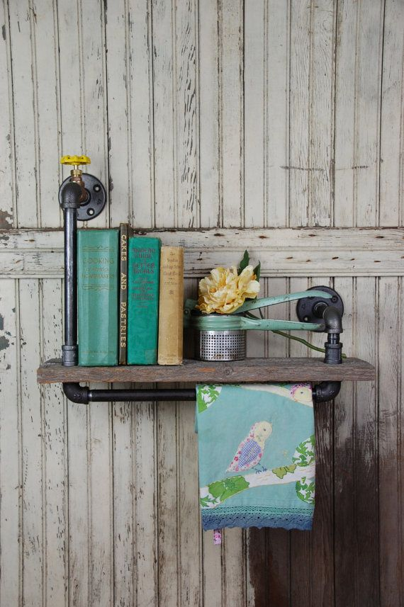 Handmade Barn Board and Pipe Wall Shelf & Towel Bar by sugarSCOUT, $129.00