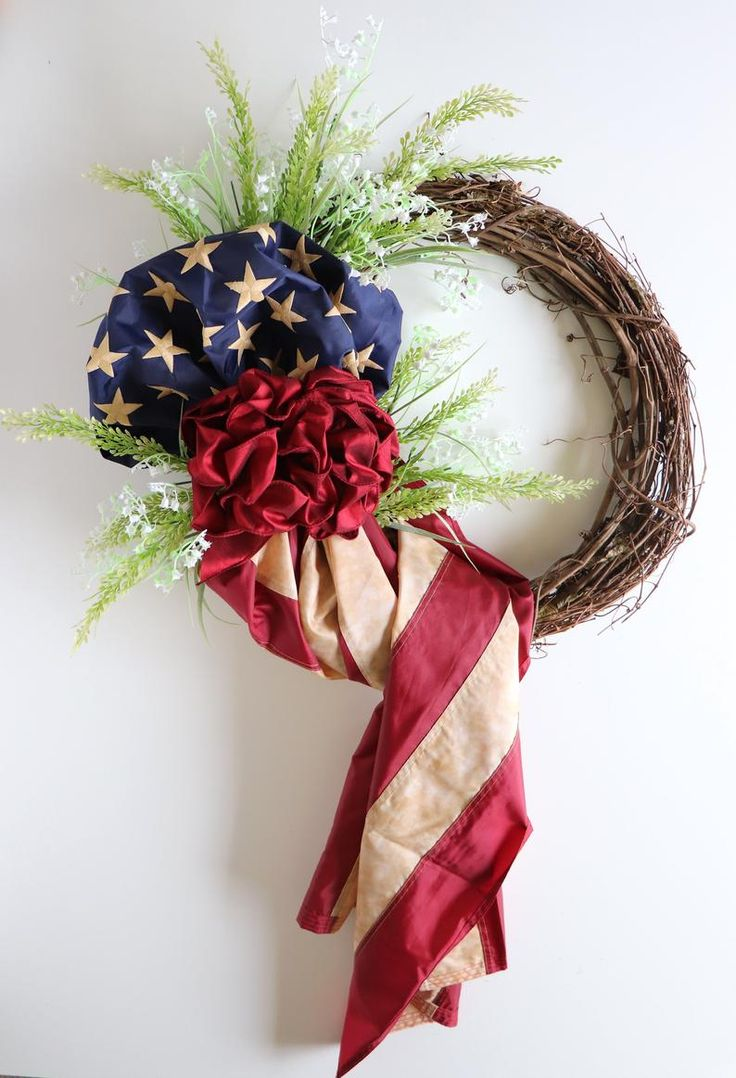 Tea Stained Flag Wreath, Patriotic Wreath for the Front Door, Americana 4th of July Wreath, Memorial Day Wreath, Veterans Day Front Porch