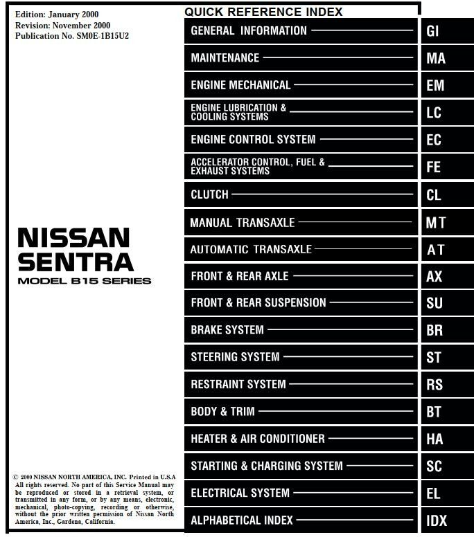 New Post Nissan Sentra Model B15 Series 2000 Service Manual Has Been Published On Procarmanuals Com Https Procarmanuals Nissan Xterra Nissan Nissan Sentra