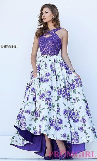 Floral+Print+High+Low+Sherri+Hill+Dress+at+PromGirl.com