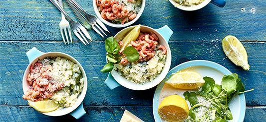 Delhaize - Risotto aux crevettes grises, cresson de fontaine et citron