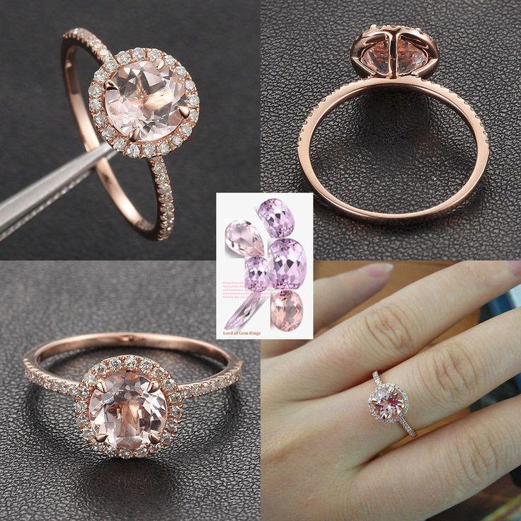 $426 Round Morganite Engagement Ring Pave Diamond Wedding 14K Rose Gold 7mm