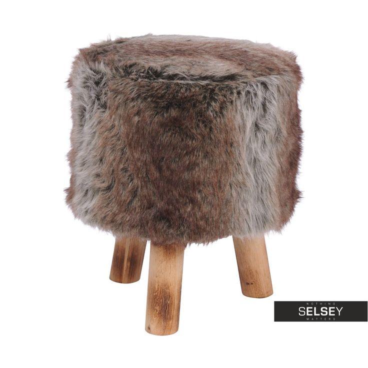 Drewniany stołek futrzany Lucerna ø 32 cm brązowy