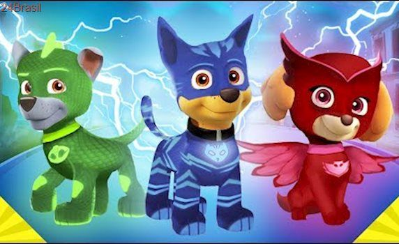 La Patrulla canina se disfraza de los Pj Masks Heroes en pijamas ⚡ con Chase, Gatuno y todos