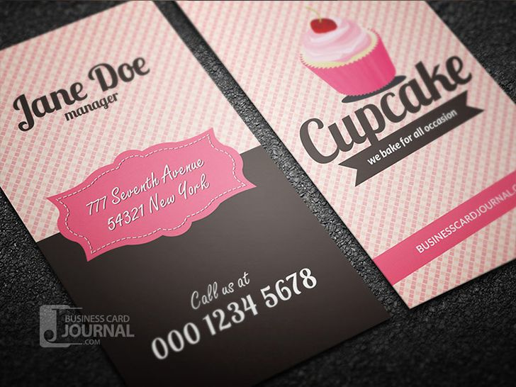 Modern PSD free cupcake business card template designed in retro style by Businesscardjournal.  #business #cards #design