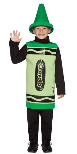 Green Childrens Licensed Crayola Crayon Funny Fancy Dress Party Costume Age 4-6: Amazon.co.uk: Clothing