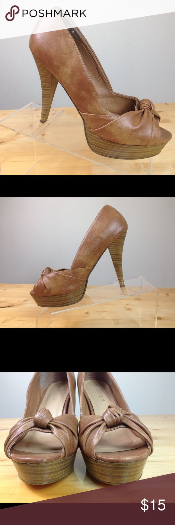 Madden Girl brown bow tie open toe high heel pumps Thank you so much for looking if you would like any additional questions just contact me!  Have a great day! Madden Girl Shoes Heels